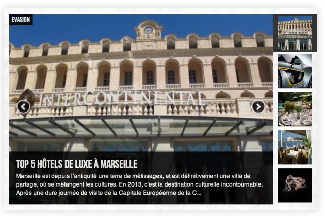 Capture d'écran page accueil Via Prestige
